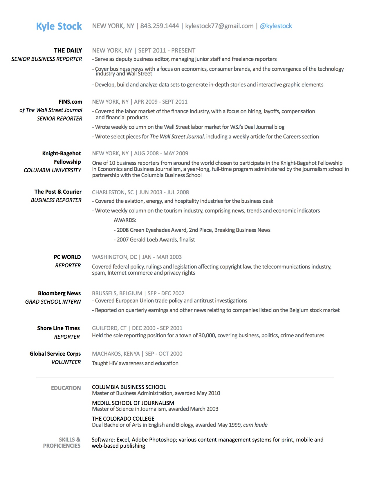 Resume | Kyle Stock Biz